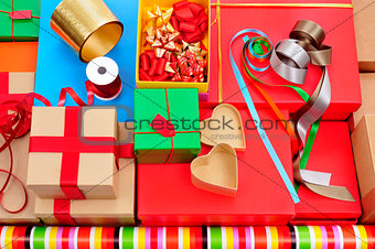 boxes, wrapping paper and ribbons