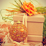 gifts decorated with natual ornaments and christmas ball, with r