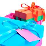 gift boxes tied with satin ribbons of different colors