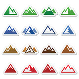 Mountain vector icons set