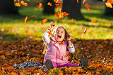 Funny young girls in autumn color