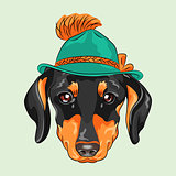 vector funny cartoon hipster dog dachshund