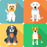 SET dogs icon flat design