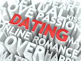 Dating - Red Word Cloud Concept.