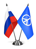 Russia and Peace Sign - Miniature Flags.