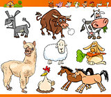 farm animals set cartoon illustration
