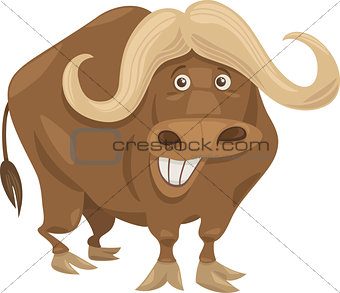 african buffalo cartoon illustration
