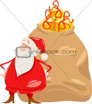 santa with gifts cartoon illustration