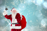 Composite image of santa claus ringing bell
