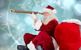 Composite image of santa claus looking through telescope