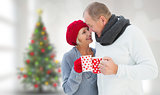 Composite image of mature couple holding mugs