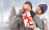 Composite image of mature woman surprising partner with gift