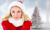 Composite image of happy festive blonde