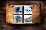 Composite image of window in wooden room