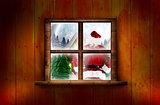 Composite image of santa delivery presents to village