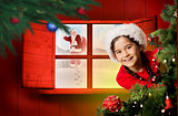 Composite image of festive girl looking from behind christmas tree