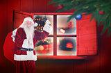 Composite image of santa claus ringing bell