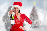 Composite image of woman holding a champagne bottle