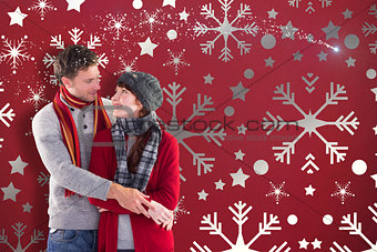 Composite image of smiling couple looking at each other