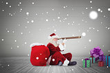 Composite image of santa looking through telescope