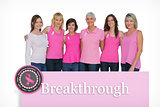 Composite image of smiling women posing with pink tops for breast cancer awareness