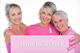 Composite image of women wearing pink tops and ribbons for breast cancer