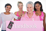 Composite image of supportive group of women wearing pink tops and breast cancer ribbons