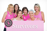 Composite image of happy women posing and wearing pink for breast cancer