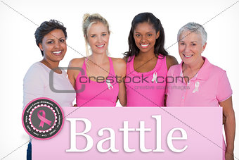 Composite image of smiling women wearing pink tops and breast cancer ribbons