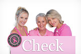 Composite image of happy women wearing pink tops and ribbons for breast cancer