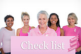 Composite image of diverse group of women wearing pink tops and breast cancer ribbons