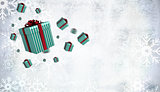 Composite image of flying christmas presents