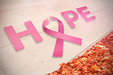 Composite image of breast cancer awareness message of hope