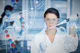 Composite image of serious chemist working with white dna helix diagram inteface