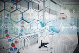 Composite image of chemist in protective suit working with futuristic interface with formula diagram