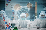 Composite image of scientists working in the lab with futuristic interface