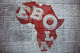 Composite image of red ebola text on africa outline