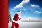 Santa claus pulling a rope