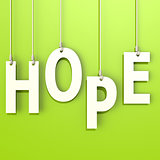 Hope word in green background