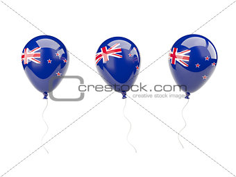 Air balloons with flag of new zealand