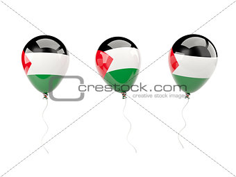 Air balloons with flag of palestinian territory