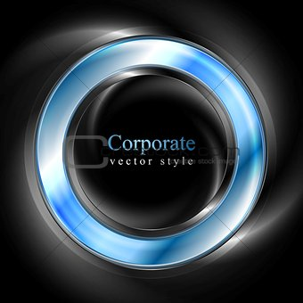 Bright glow blue web circle element. Logo background