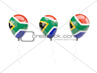 Air balloons with flag of south africa
