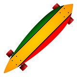 Vector illustration of three color longboard