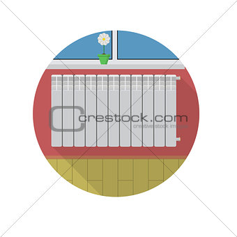 Flat vector icon for radiator in room