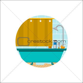 Flat vector icon for bathroom