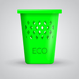 Vector illustration of green eco dustbin