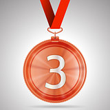 Vector illustration of third place medal