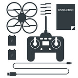 Complete set for quadrocopter. Flat icons vector collection.