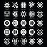 Pixelated snowflakes, Christmas white icons on black